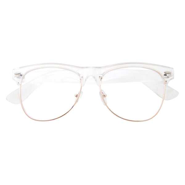 Euro Transparent Half Frame Clear Lens Glasses - grinderPUNCH