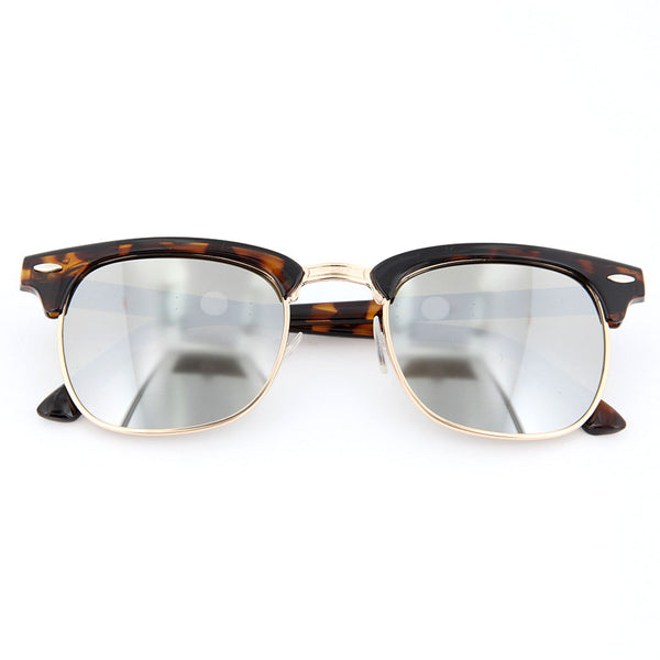 Classic Mirrored Half Frame Horned Rim Sunglasses - grinderPUNCH
