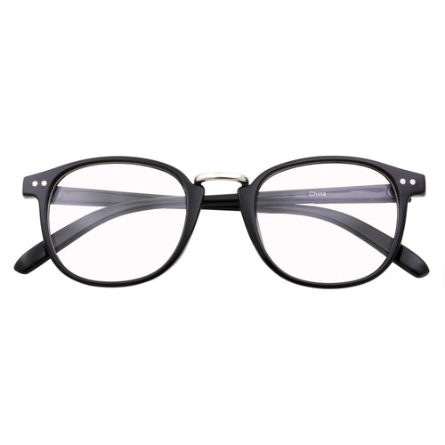 Fashion Half Frame Horned Rim Clear Lens Glasses - grinderPUNCH