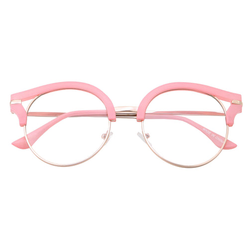 Womens Trendy Round Cat Eye Metal Clear Glasses - grinderPUNCH