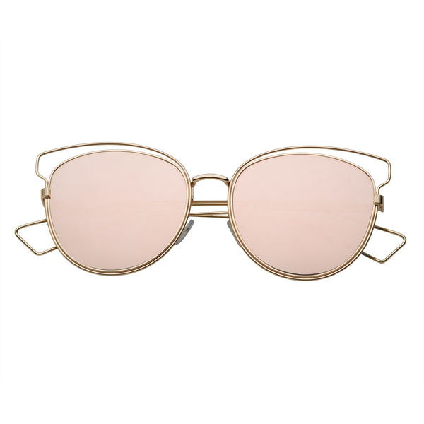Women's Wire Frame Flat Mirror Lens Sunglasses - grinderPUNCH