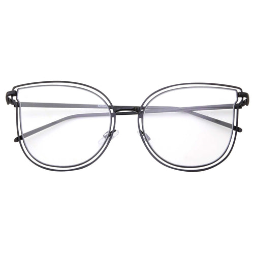Women's Oversized Tulip Cat Eye Shaped Clear Lens Glasses - grinderPUNCH