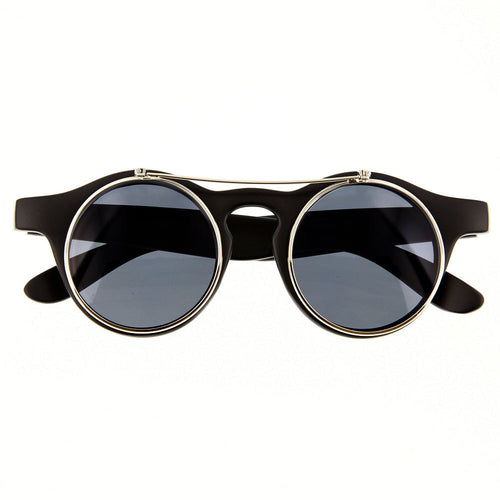 Vintage Retro Cyber Steampunk Costume Round Circle Flip Up Clear Lens Glasses - grinderPUNCH