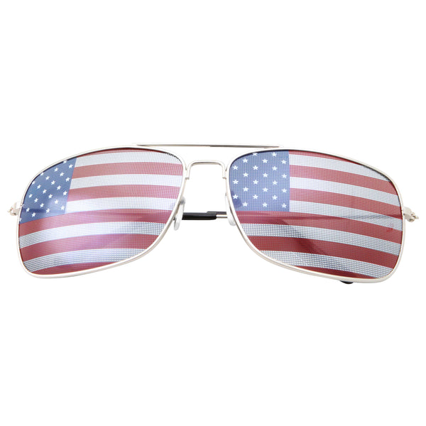 Mens Rectangle Driving American Flag Sunglasses - grinderPUNCH