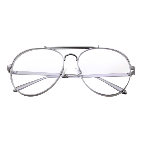 Retro Aviator Clear Flat Lens Glasses - grinderPUNCH