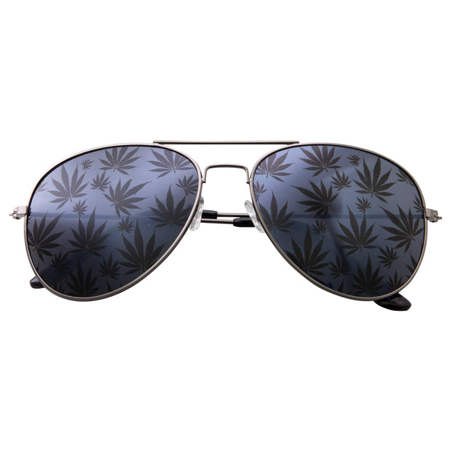 Aviator Ganja Bud Pot Weed Fun Party Sunglasses - grinderPUNCH