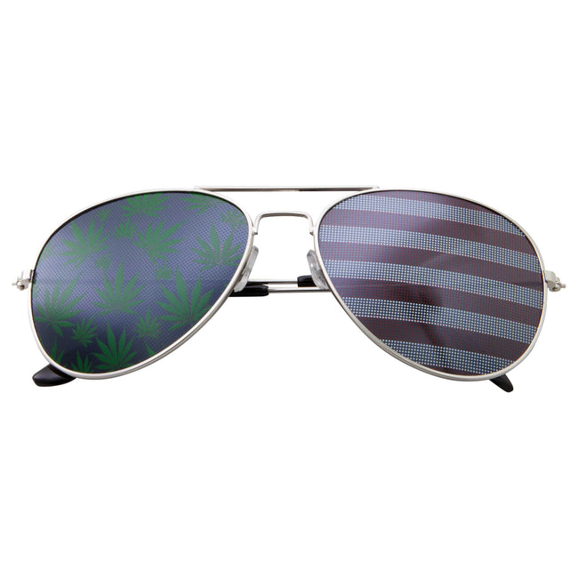 Aviator US Patriotic Ganja Bud Pot Weed Party Sunglasses - grinderPUNCH