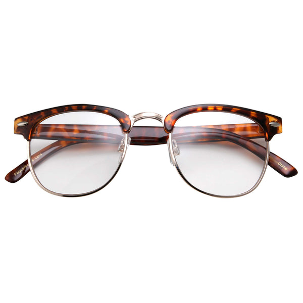 Retro Classic Horned Rim Clear Lens Glasses - grinderPUNCH