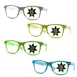 Checkered Glow in the Dark Novelty Party Sunglasses - grinderPUNCH