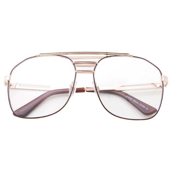 Premium Oversized Fashion Aviator Clear Lens Glasses - grinderPUNCH