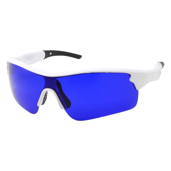 Mens Sport Half Jacket Wrap Blue Lens Sunglasses - grinderPUNCH