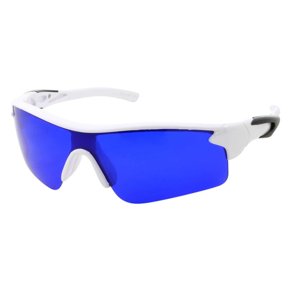 Mens Grip Sports Wrap Blue Lens Sunglasses - grinderPUNCH
