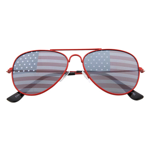 Kid's American Flag Aviator Sunglasses - grinderPUNCH