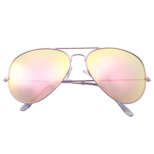 Large Flat Mirrored Lens Aviator Sunglasses - grinderPUNCH