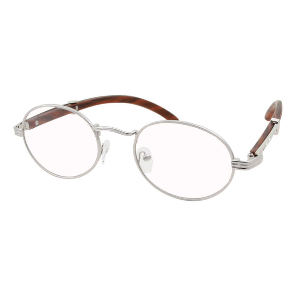 Retro Fashion Slim Oval Clear Lens Glasses - grinderPUNCH
