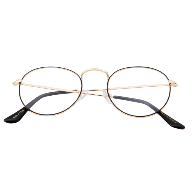 Vintage Inspired Round Metal Clear Lens Glasses - grinderPUNCH