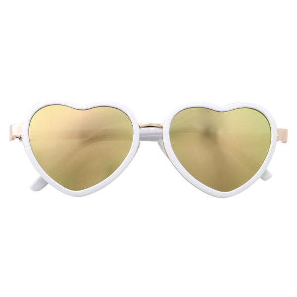 Womens Cute Heart Shaped Mirrored Lens Sunglasses - grinderPUNCH