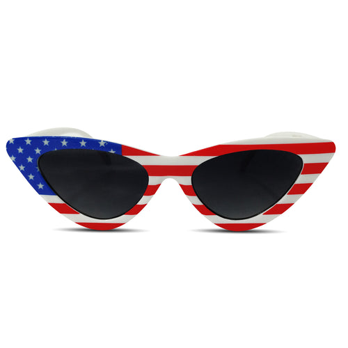 Women's American Flag Thin Pointed Cat Eye Sunglasses - grinderPUNCH