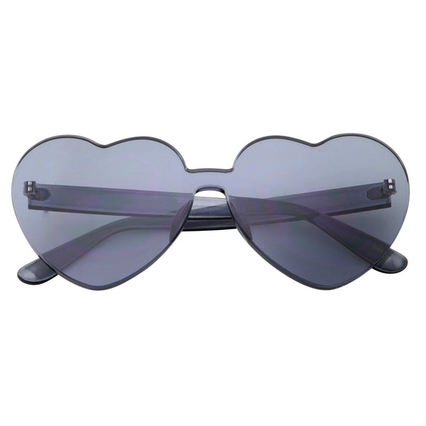Womens Heart Color Tone Monoblock Sunglasses - grinderPUNCH