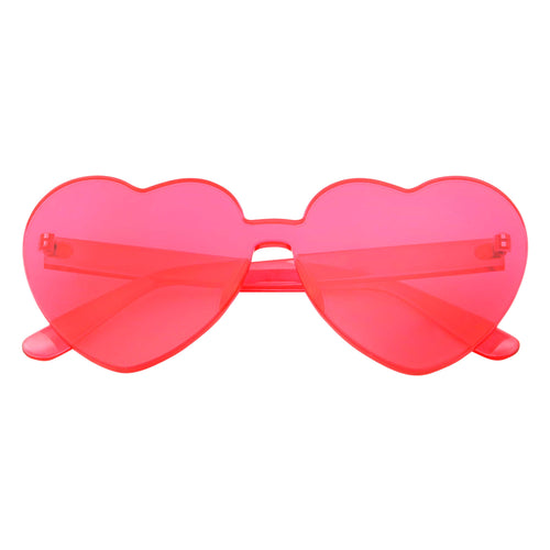 Womens Heart Color Tone Monoblock Sunglasses