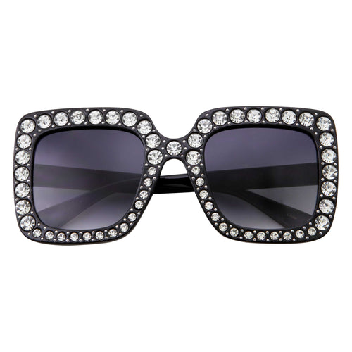 Womens Oversize Crystal Rhinestone Square Fashion Sunglasses - grinderPUNCH