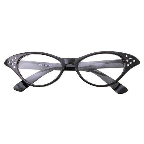 Retro 50s Vintage Womens Cat Eye Clear Lens Glasses - grinderPUNCH