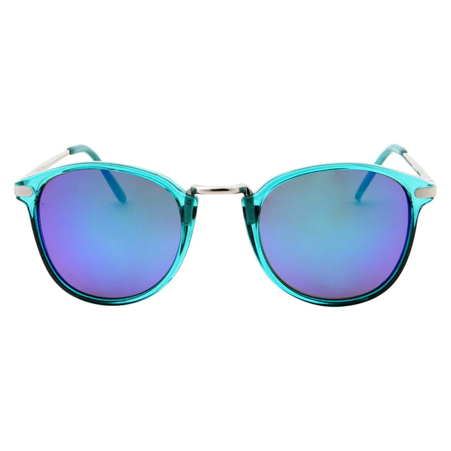 Colorful Crystal Transparent Metal Bridge Mirrored Lens Sunglasses - grinderPUNCH
