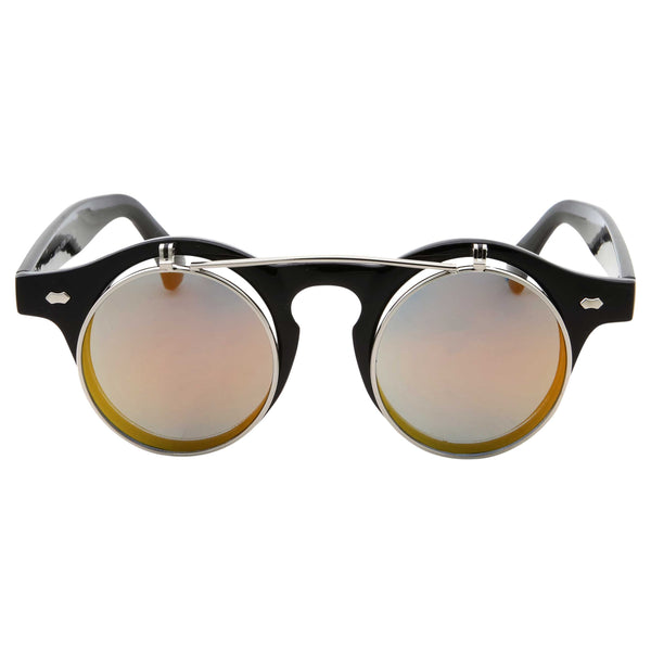 Steampunk Fashion Flip Up Horned Rim Round Sunglasses - grinderPUNCH