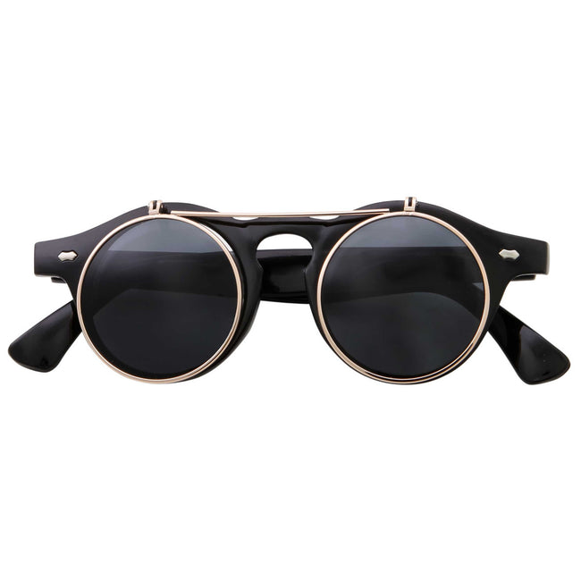Steampunk Fashion Flip Up Round Color Tinted Sunglasses - grinderPUNCH