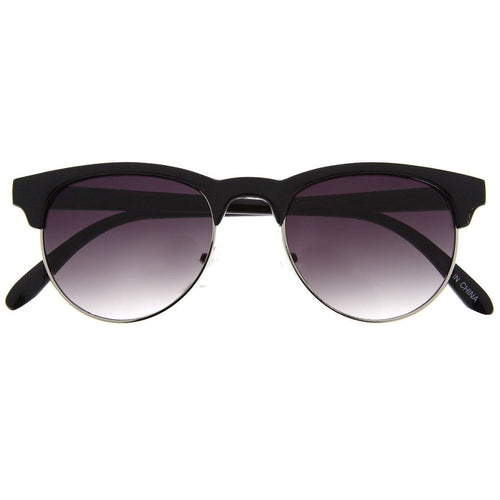 Vintage Inspired Sunglasses Half Frame Round Bottom Shades - grinderPUNCH
