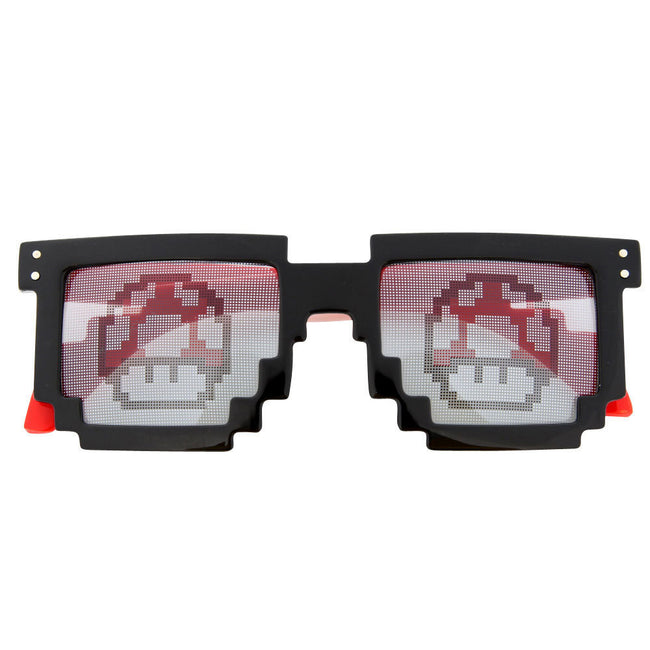 Pixel Sunglasses Rave Mushroom Lens 8 Bit 2 Tone Fun Party Sunnies Novelty - grinderPUNCH