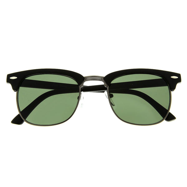 Vintage Inspired Sunglasses Classic Hipster Metal Half Frame Shades - grinderPUNCH