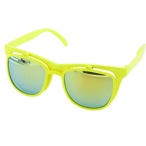 Vintage Flip Up Sunglasses Plastic Clear Classic Neon Mirror UV400 - grinderPUNCH