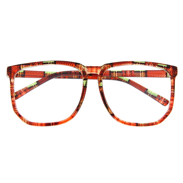 Plaid Oversized Square Frame Clear Lens Sunglasses - grinderPUNCH