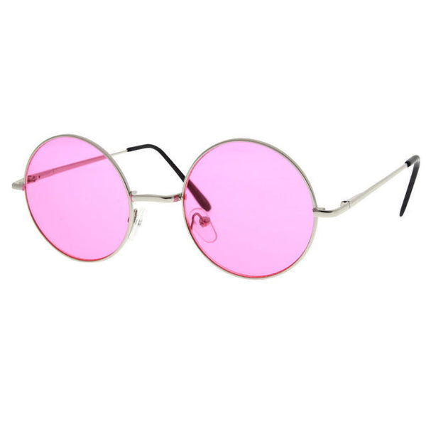 Round Circle John Lennon Inspired Color Lens Sunglasses Tea Shades Glasses Hippy - grinderPUNCH