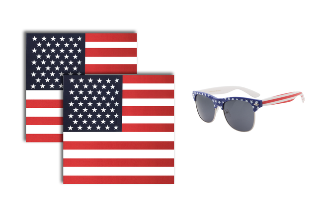 Apollo's Creed All American Flag Browline Sunglasses and Bandana Pack - grinderPUNCH