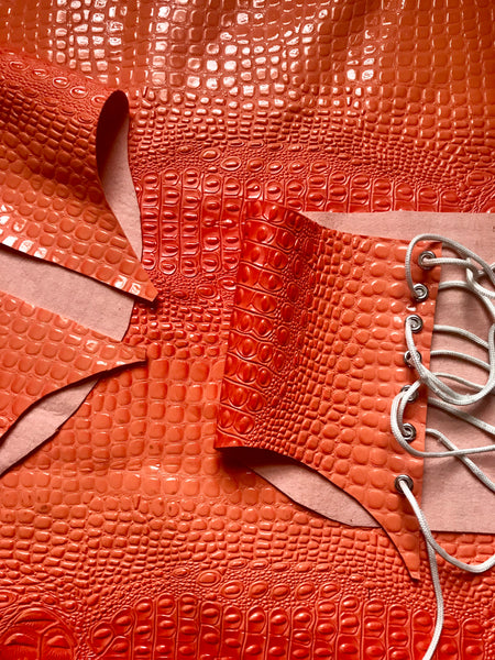 Croc Print Corset in Sunset Orange