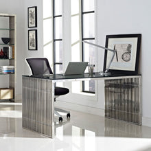 Load image into Gallery viewer, Stainless Steel Rectangle Dining Table in Silver  EEI-1433-SLV