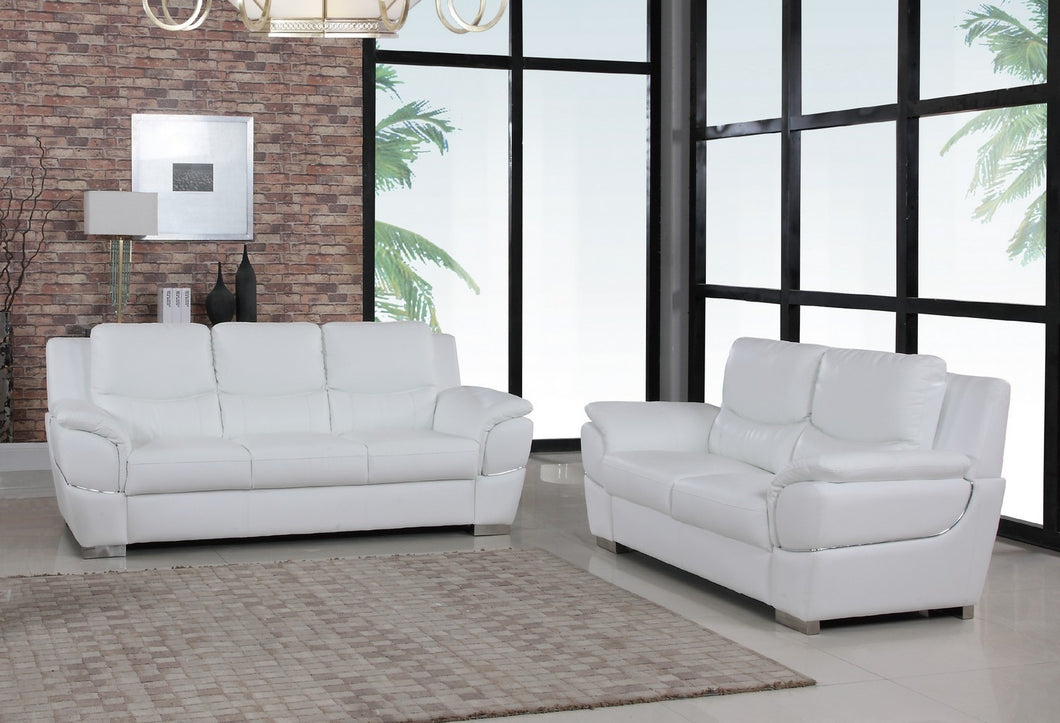 2PCS WHITE SOFA AND LOVESEAT #4572GU