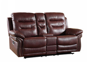 2 PCS BURGUNDY SOFA WITH CONSOLE LOVESEAT #9392