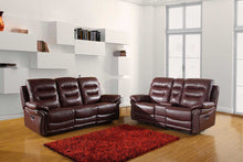 Load image into Gallery viewer, 2 PCS BURGUNDY SOFA WITH CONSOLE LOVESEAT #9392