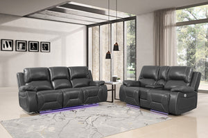2PCS SET Gray Power Reclining Sofa Love #9422GU