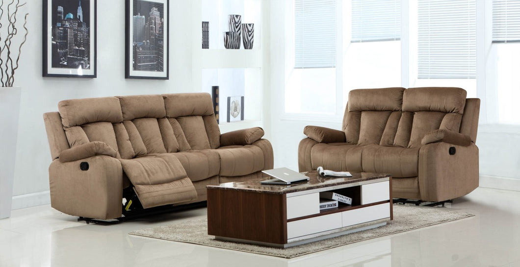 2PCS RECLINER BEIGE SOFA AND LOVESEAT #9760GU