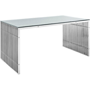 Stainless Steel Rectangle Dining Table in Silver  EEI-1433-SLV