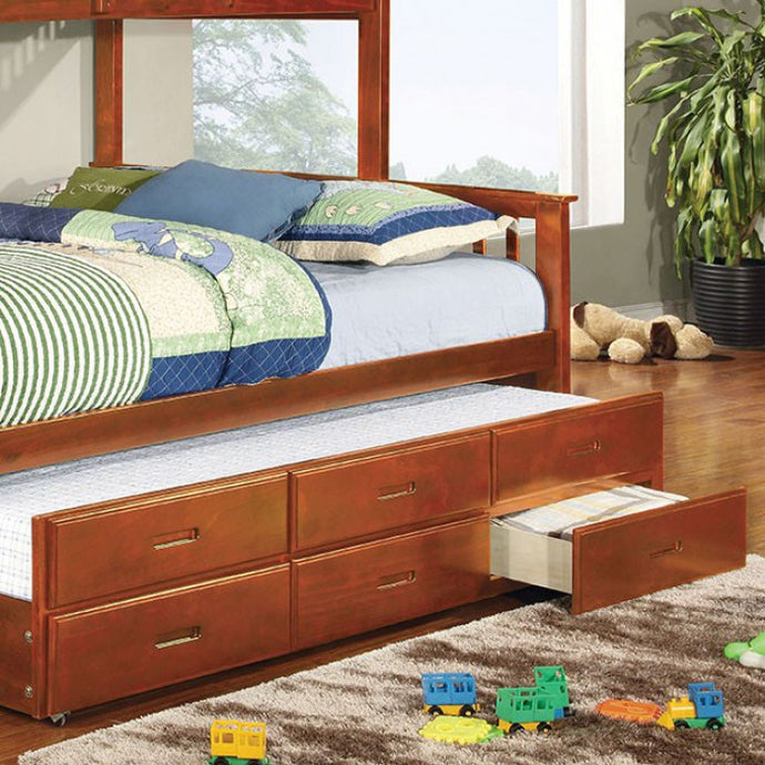 FOA TWIN XL TRUNDLE W/3 DRAWERS CM-BK458Q-CTR-OAK