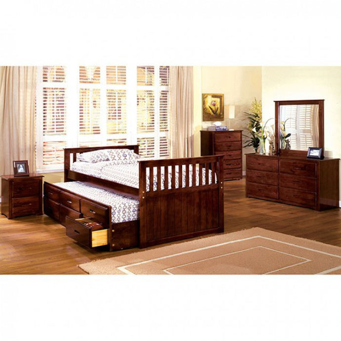 TWIN CAPTAIN BED BY FURNITURE OF AMERICA CM7031