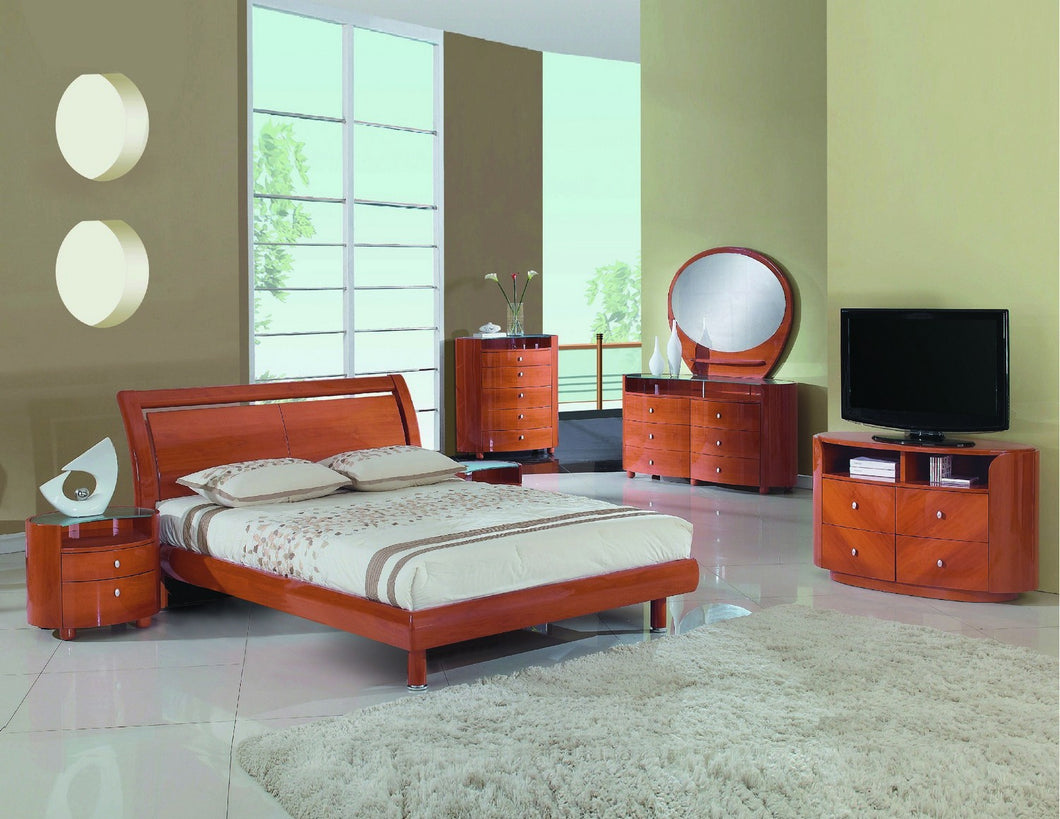 4PCS  QUEEN CHERRY BEDROOM SET #COSMO GU