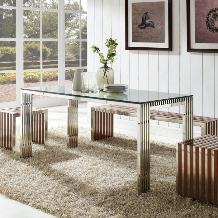 Stainless Steel Rectangle Dining Table in Silver EEI-1434-SLV