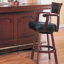 Load image into Gallery viewer, Lambert Traditional Bar Stool with Leather Back and Swivel Seat