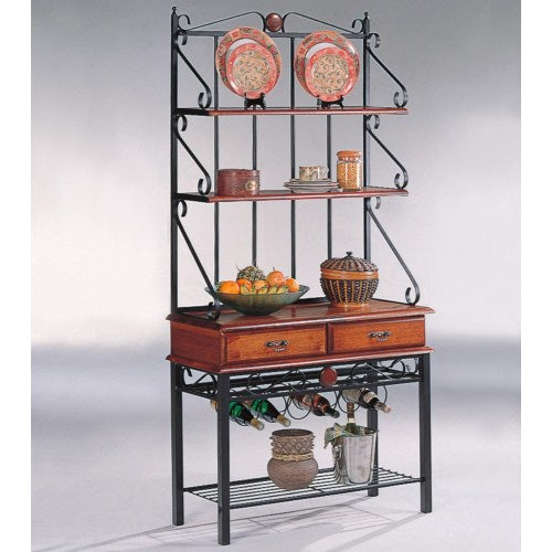 Accent Racks 3 Shelf Kitchen Cabinet with Wine Rack